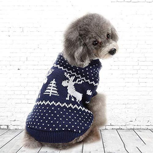 Haustier-Hundeweihnachtsstrickjacke-Elch-Muster-Haustier-Strickjacke-runder Hals-Hundekleidung Costume Pet Kleidung für kleine Hunde (Farbe : Blau, größe : XL) - Hals-wärmer-muster