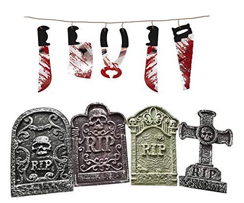 Quickdraw Halloween-Dekoration Set 4 X Fake Grabsteine Sicke Friedhof Grabsteine & Wandbehang Folter Waffe Girlande
