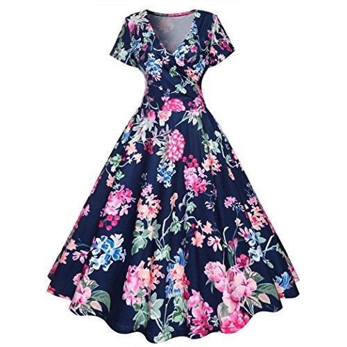 Sommerkleider Damen VENMO Damen Sommer Vintage A-Line Jahrgang Kurze Ärmel Blumen Frühling Garten Schaukel Kleid (M, Blue)