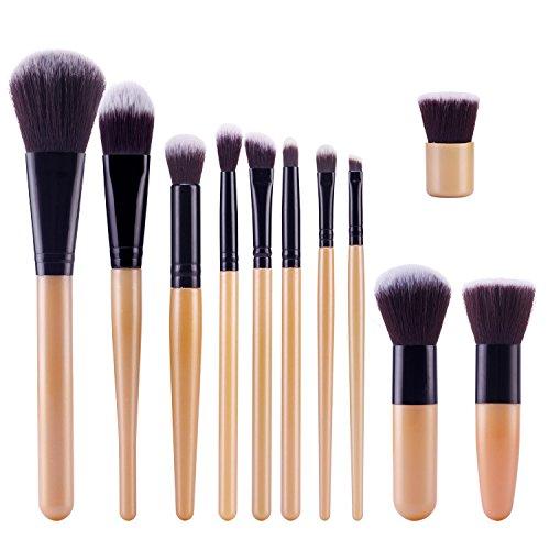 TOPBeauty Kit de Pinceau maquillage Professionnel 11 PCS Ombre a Paupiere Dore Blush Fondation Pinceau Poudre Fond de teint Anti-cerne Kit Pinceaux Gold Black
