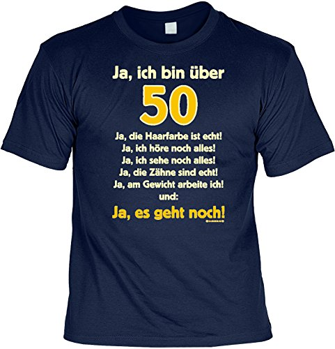 T-Shirt mit Urkunde - Ja, ich bin über 50 - lustiges Sprüche Shirt als Geschenk zum fünfzigsten Geburtstag - NEU mit gratis Zertifikat! hier kaufen