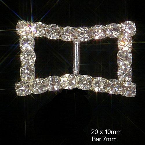 sparkly bordo curvo argento rettangolo strass nastro scorrevole con fibbia nastro fino a 10mm x 10 - Diamante Del Nastro Scorrevole