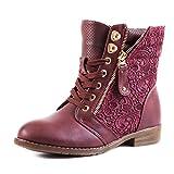 Stylische Damen Stiefeletten Worker Boots Spitze in hochwertiger Lederoptik, Weinrot, 36 EU