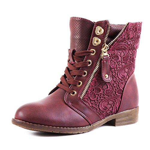 Marimo24 Damen #Trendboot Stiefel Stiefeletten Worker Boots mit Spitze in hochwertiger Lederoptik Übergrößen bis 43 Weinrot