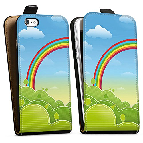 Apple iPhone X Silikon Hülle Case Schutzhülle Regenbogen Comic Wald Downflip Tasche schwarz