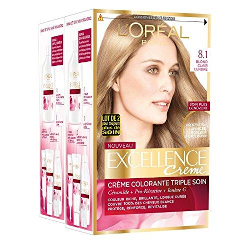 L'Oréal Paris - Excellence Crème - Coloration Permanente Triple Soin 100% Couverture Cheveux Blancs - Nuance 8,10 Blond Clair Cendré - Lot de 2