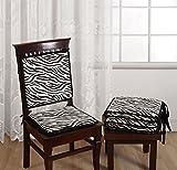 "Swayam Printed 200 TC Cotton 4 Piece Chair Pads with Loop - 16""x16"", Black"