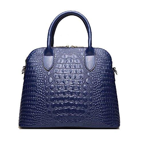 Mefly Shell Leder Handtasche Leder Tasche Damen Handtasche Schulter diagonal Royal Blue