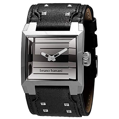 Bruno Banani PAGONA GENTS Herrenuhr Edelstahl Silber Lederband Schwarz BR25928 PA3 101 301A
