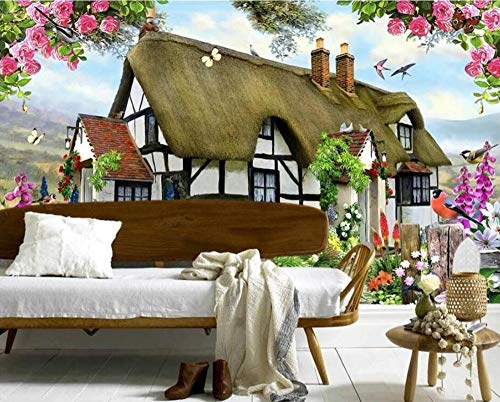 Custom wallpapers Gorgeous Pastoral English Country Cottage Rose Garden Children's Room TV backdrop mural 3d wallpaper,400 * 280cm English Country Rose
