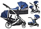 Kids Kargo Duellette 21 Twin-Tandem-Kombi-Kinderwagen (Blueberry).