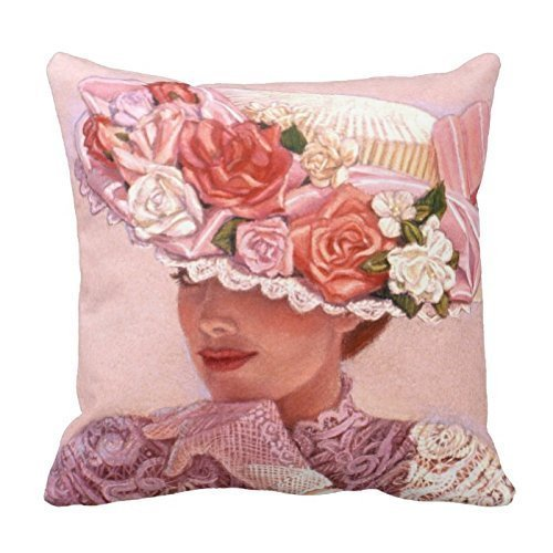 CrownLiny Generic Home Decorative Polyester 18 X 18 Inches Victorian Lady Art Pillowcases Floral Vintage Rose Hat