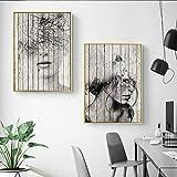 YFYW Figure astratte Stampe su Tela Quadri Vintage Wall Art Immagini su Tela per Soggiorno Decor-50x70cmx2 Pezzi Senza Cornice