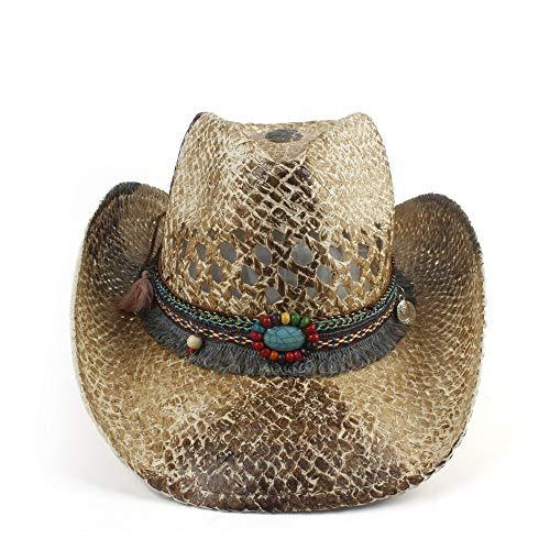 AM-women's hat Mode Sommer Dame Cowgirl Fedora Jazz Hut Strand Sombrero Hombre Rettungsschwimmer Sonnenhüte Böhmen Stlye Frauen Stroh Western Cowboy Hut Komfort (Farbe : 1, Größe : 56-58CM) (Stroh-sonnenhut Frauen)