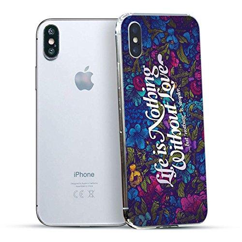 finoo | Iphone X Hard Case Handy-Hülle mit Motiv | dünne stoßfeste Schutz-Cover Tasche in Premium Qualität | Premium Case für Dein Smartphone| Fuck You Herz Live is nothing