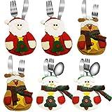JBY 3pcs/6pcs Tischdeko Besteckhalterset Bestecktasche Weihnachtsmann Schneemann Alce Dekoration esteckhalter Besteckbeutel Weihnachtsdeko für Restaurant Esszimmer