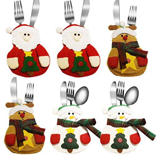 AIYUE® Weihnachten Tischdeko Bestecktasche Besteckbeutel Besteckhalter für Weihnachten Deko Tische Accessoires 6 Set
