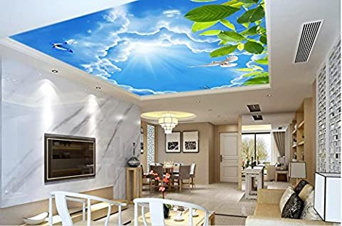 Lqwx Custom 3D Deckengemälde Blätter Pigeon 3D-Decke Hintergrundbilder Für Wohnzimmer 3D Deckenmalereien Foto Wallpaper 120 Cmx 100 Cm