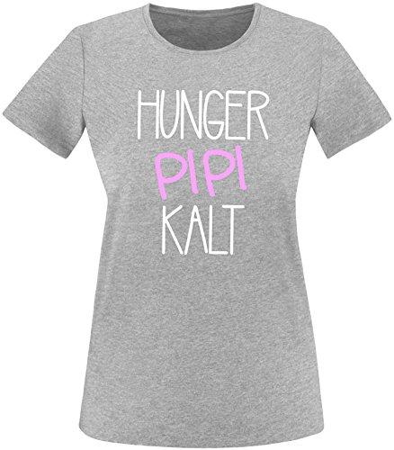 Luckja Hunger Pipi Kalt Damen Rundhals T-Shirt Grau/Weiss/Rosa