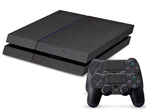 playstation-4-skin-sticker-pour-la-console-les-2-controleurs-asphalte-noir-avec-une-structure-rugueu