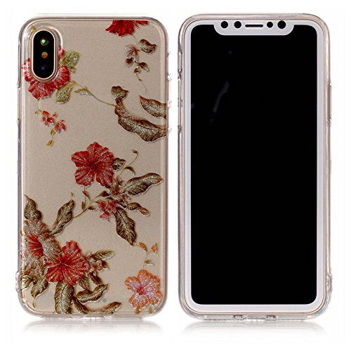 iPhone X Hülle ,Fodlon® Ultra Slim Fit TPU Gel Skin BlinkenPulver Schutzhülle / Case / Cover -Feder Azaleen