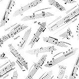 ELI05 Tela de algodón 100%, con diseño de notas musicales, 0,5 m, color crema y negro