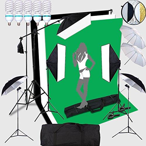HWAMART ® Foto 5x150W Portraint Professional Studio illuminazione continua 2x3 Kit misuratore Sfondo SOSTEGNO con Photo Sfondi schermo fondale All In 1 photography Set Vieni con qualità trasporta il sacchetto nero / bianco / Sfondo verde (5x150W)