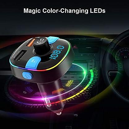Bluetooth-FM-Transmitter-ZeaLife-Bluetooth-50-Auto-FM-Transmitter-QC30-KFZ-Radio-Adapter-mit-7-Farbe-LED-Backlit-Dual-USB-Transmitter-Untersttzt-Siri-Google-USB-Stick-TF-Karte-Freisprechanlage