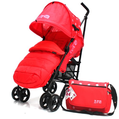 Zeta Vooom Warm Red (DOTS Complete MC F/M & Bag) With Large Toddler Footmuff, Changing Bag And Rain Cover