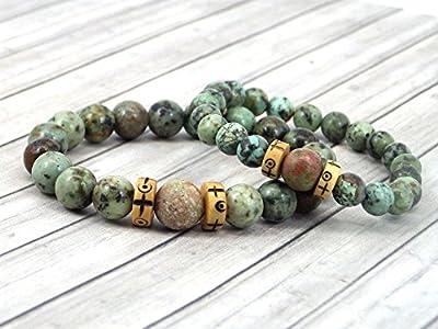Bracelets en Duo homme et femme Africa Dream en turquoise naturelle, Unakite naturelle et os gravés