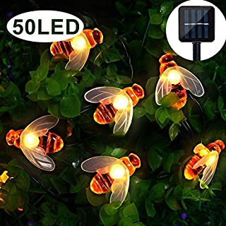 Garden Solar Lights, 50 LED Honeybee Garden Fairy Lights,8 Mode 7M/ 24Ft Waterproof Outdoor/Indoor Solar Powered Decorative Lighting for Home, Patio, Party, Christmas,Decoration (Warm White)