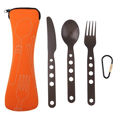 D DOLITY Outdoor Campingbesteck Set - Klappbesteck - Messer Gabel Löffel Set - für Camping und Outdoor - Orange -