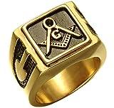 DIBMXC Retro Vintage Santa Gratuito Mason-AG Logia Masónica Anillos untado de Oro para Hombre en Acero Inoxidable