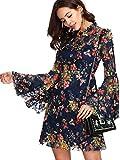 ROMWE Damen Elegant Sommerkleider mit Blumen Druck Muster A-Linie Urlaub Party Kleider Blau L