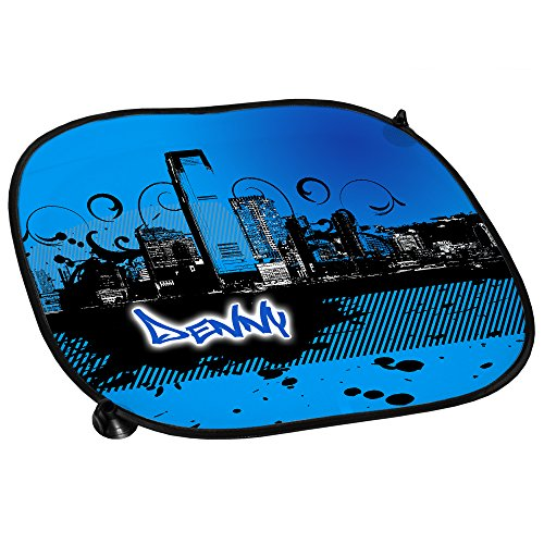 auto-sonnenschutz-mit-namen-denny-und-schonem-motiv-mit-city-skyline-in-der-farbe-blau-fur-jungen-au