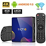 TICTID TV Box Android 9.0 avec Clavier Touchpad【4GB DDR3 + 64GB ROM】 BT 4.0 Android TV Box R8 Plus RK3318 Quad-Core 64bit Cortex-A53 Wi-FI 2.4G/5G LAN100M USB 3.0 Box Android TV