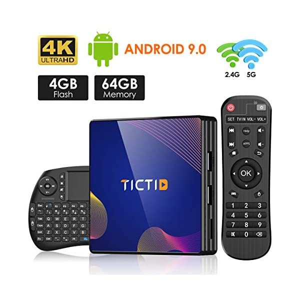 TICTID-TV-Box-Android-90-avec-Clavier-Touchpad4GB-DDR3-64GB-ROM-BT-40-Android-TV-Box-R8-Plus-RK3318-Quad-Core-64bit-Cortex-A53-Wi-FI-24G5G-LAN100M-USB-30-Box-Android-TV