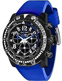 Glam Rock Miami Beach del Hombre 50mm azul banda de silicona funda de policarbonato cuarzo negro dial reloj gr20143