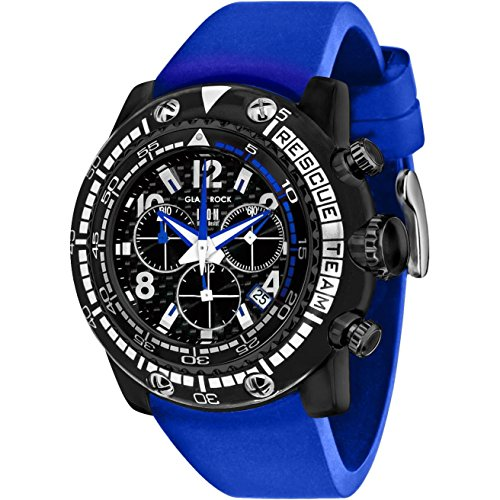 Glam Rock Men's Miami Beach 50mm Blue Silicone Band Polycarbonate Case Quartz Black Dial Watch GR20143