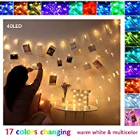 Photo Clips String Light Fairy Lights with Clips for Pictures Color Changing Multicolor 40 Led Clip Polaroid Photo Hanging Display for Bedroom Room Wall Decor Christmas Decorations 16 Colors(40Led)
