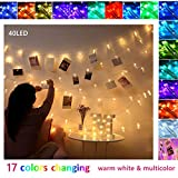 Lichterkette mit Klammern Für Fotos Polaroid Foto Lichterkette Bilder Licht Fotolichterkette Led Fotoclips Lichterkette Clip Lichterketten für Zimmer Weihnachten Wand Dekoration(40 Led)