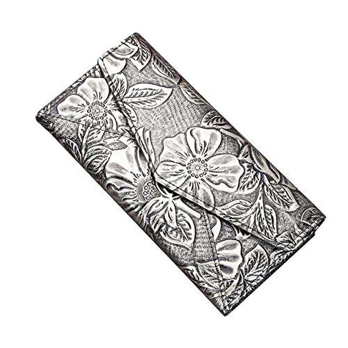 Genda 2Archer Donne adattano il Portafoglio Lungo del Cuoio Borsa da Fiori Sacchetto Cellulare (10.5cm*3cm*20cm) (Nero) Oro