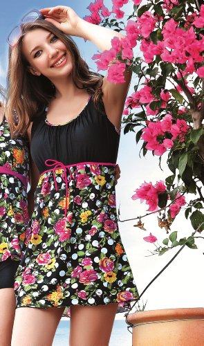 Flores-Traje, Bañador para mujer/falda (, Reino Unido tamaño 10, con relleno extraíble, falda cosida