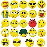 Meetory Lot de 24 aimants de réfrigérateur Tableau noir, motif Emoji-Smiley Bouton magnétique, 45 mm