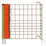 Rete per recinzioni da pascolo elettrificabili, altezza 120 cm e 50 m di lunghezza, a punta doppia, 14 pali verdi, colore arancione, scaccia lupi