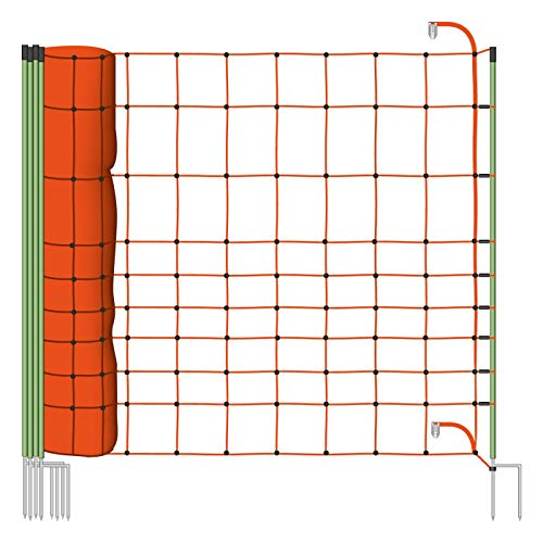 1x Filet Euro 50 m 120/2 VOSS.farming, protection contre l'abroutissement et borne de raccordement de protection contre les loups, protection des ovins