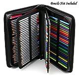 Sumnacon 160 PU cuir Trousse de crayon avec sangle à épaule, sac de crayon pour Dessinateur Professionnelle ou Amateur (Noir)