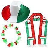 Sonia Originelli Fanpaket Ungarn Hungary Fahne Flagge Schal Perücke Blumenkette Party rot weiss grün UNG-SET-1-XL