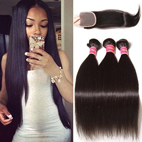 6 Un Lissage Brésilien Cheveux De Tissages 3/Lot Vierge remy trames de cheveux humains Couleur naturelle (16 18 20)