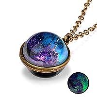 Zuolo Nebula Glass Pendant Necklace Lampwork, Double Side Glass Universe Galaxy Glass Planets Pendant Lampwork Chain Necklace Jewelry Gift for Men Women kids